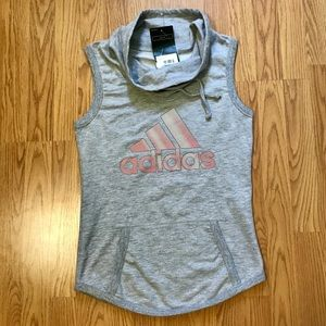Adidas sleeveless grey and pink cowl neck top